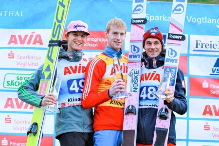 1. Evgeniy Klimov, 2. Karl Geiger, 3. Piotr Żyła - SGP Klingenthal 2018
