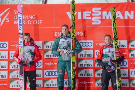 1. Karl Geiger, 2. Piotr Żyła, 3. Daniel Huber - WC Engelberg 2018