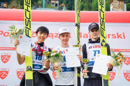 1. Maximilian Steiner, 2. Naoki Nakamura, 3. Justin Nietzel - FIS Cup Szczyrk 2018