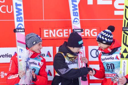1. Ryōyū Kobayashi, 2. Piotr Żyła, 3. Kamil Stoch - WC Engelberg 2018