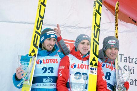 FIS Cup Zakopane 2017 - Podium 1. Ulrich Wohlgenannt, 2. Killian Peier, 3. Andrzej Stękała (1)