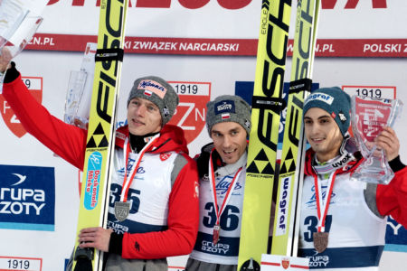 MP Zakopane 2016 - Podium: 1. Piotr Żyła, 2. Dawid Kubacki, 3. Maciej Kot