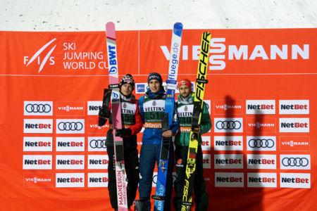 WC Oberstdorf 2019 - Podium: 1. Timi Zajc, 2. Dawid Kubacki, 3. Markus Eisenbichler