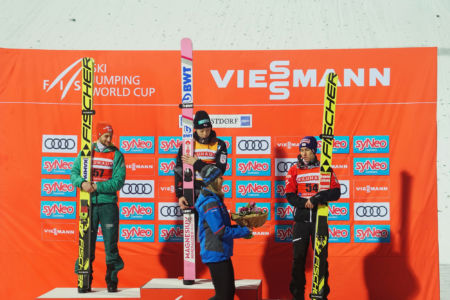 WC Oberstdorf 2019 - Podium: 1. Ryōyū Kobayashi, 2. Markus Eisenbichler, 3. Stefan Kraft